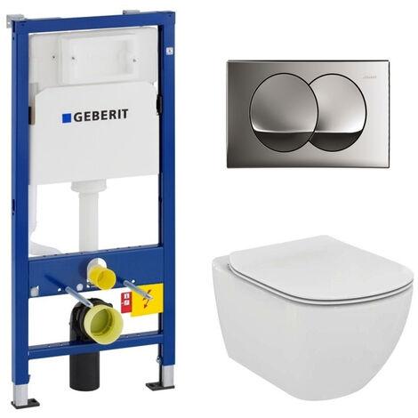 Geberit Set WC Geberit duofix UP100 + Toilet Ideal Standard Tesi Aquablade + Flush plate - SETUP100-AQUA2