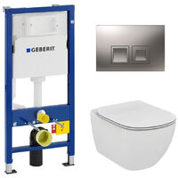 Geberit Set WC Geberit duofix UP100 + Toilette bowl Ideal Standard Tesi Aquablade + Flush plate. (SETUP100-AQUA7)
