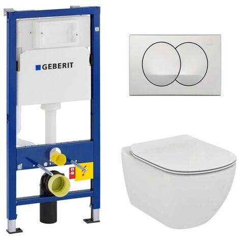 Geberit Set WC Geberit duofix UP100 + Toilette Ideal Standard Tesi Aquablade + Flush Plate DELTA20 White (SETUP100-AQUA1)