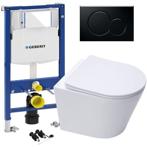 GEBERIT Sigma 0.98 Concealed Cistern WC Frame & ECO Hidden Fixings Wall Hung Rimless Toilet Pan