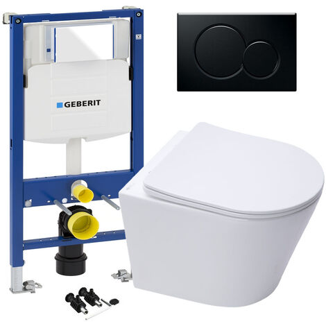 """main image of """"GEBERIT Sigma 0.98 Concealed Cistern WC Frame & ECO Rimless Wall Hung Toilet Pan"""""""