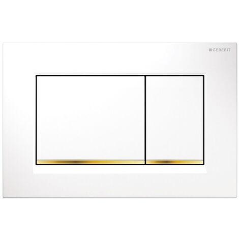 Geberit Sigma30 Dual Flush Plate - Polished White/Gold