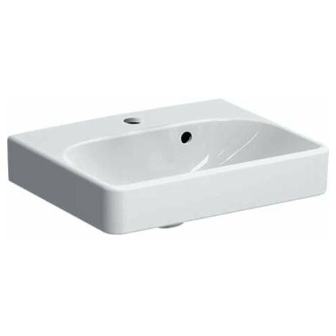 Geberit Smyle Square Handwaschbecken 500222, 45x36cm, mit Hahnloch, mit Überlauf asymmetrisch, Farbe: Weiß - 500.222.01.1