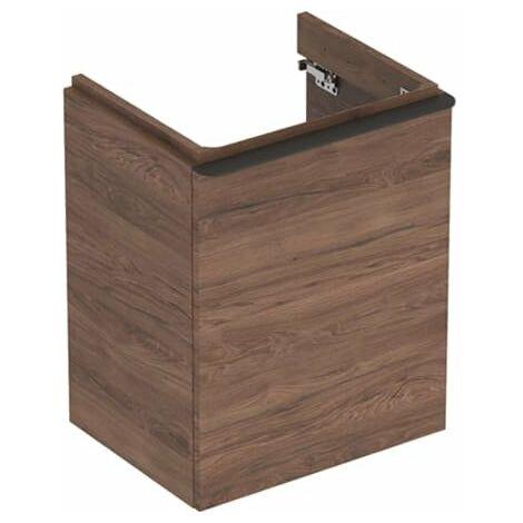 Geberit Smyle Square Handwaschbecken Unterschrank, 500364, 492x617x406mm, mit 1 Tür, linksöffnend, Farbe: Nussbaum hickory /Melamin Holzstruktur - 500.364.JR.1