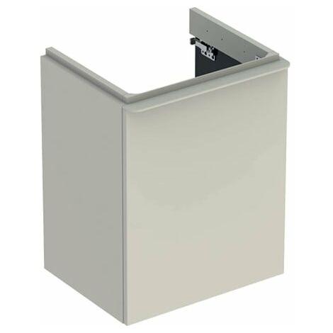 Geberit Smyle Square Handwaschbecken Unterschrank, 500364, 492x617x406mm, mit 1 Tür, linksöffnend, Farbe: Sand-grau Hochglanz Lack - 500.364.JL.1