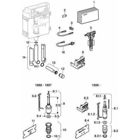 Geberit tuyau d accouplement pour reservoir chasse encastre av 2 R3/8 ecrou-chapeau. Ref. Nr 240.069.00.1