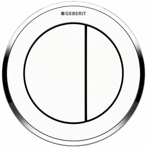 Geberit Type 10 Pneumatic Dual Flush Plate Button for 80mm Concealed Cistern - White / Gloss Chrome
