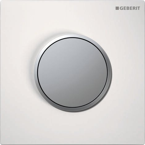 Geberit urinal control with pneumatic flush release, actuating plate type 10, colour: white / matt chrome plated - 116.015.KL.1