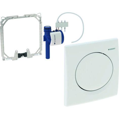 Geberit urinal control with pneumatic flush release, plastic actuator plate, Basic, colour: white-alpine - 115.820.11.5