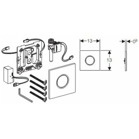 Geberit Urinalsteuerung mit elektronischer Spülauslösung, Batteriebetrieb, Abdeckplatte Typ 01, Coloris: Chromé brillant - 116.031.21.5
