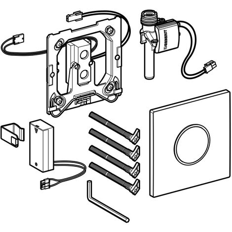 Geberit Urinalsteuerung mit elektronischer Spülauslösung, Batteriebetrieb, Abdeckplatte Typ 10, Coloris: blanc / chromé brillant - 116.035.KJ.1