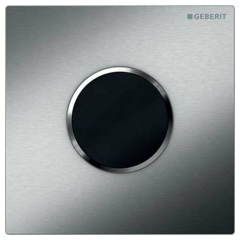 Geberit Urinalsteuerung mit elektronischer Spülauslösung, Batteriebetrieb, Abdeckplatte Typ 10, Coloris: brossé/poli - 116.035.SN.1