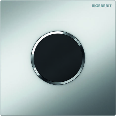 Geberit Urinalsteuerung mit elektronischer Spülauslösung, Batteriebetrieb, Abdeckplatte Typ 10, Coloris: chromé mat / chromé brillant - 116.035.KN.1