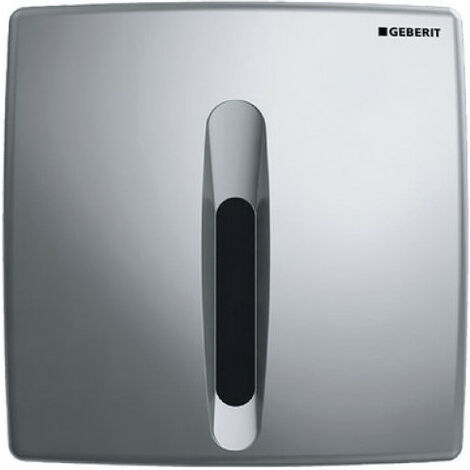 Geberit Urinalsteuerung mit elektronischer Spülauslösung, Netzbetrieb, Abdeckplatte Kunststoff, Basic, Coloris: chromé mat - 115.817.46.5