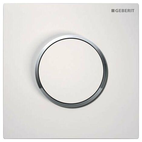 Geberit Urinalsteuerung mit pneumatischer Spülauslösung, Betätigungsplatte Typ 10, Coloris: blanc / chromé brillant - 116.015.KJ.1