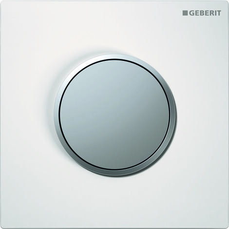 Geberit Urinalsteuerung mit pneumatischer Spülauslösung, Betätigungsplatte Typ 10, Coloris: blanc / chromé mat - 116.015.KL.1