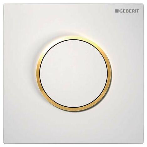 Geberit Urinalsteuerung mit pneumatischer Spülauslösung, Betätigungsplatte Typ 10, Coloris: blanc / plaqué or - 116.015.KK.1