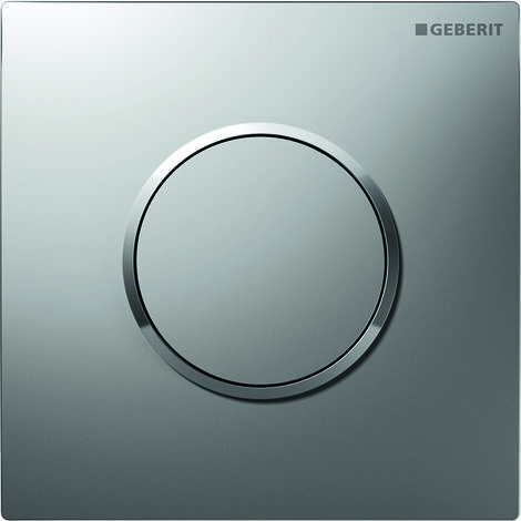 Geberit Urinalsteuerung mit pneumatischer Spülauslösung, Betätigungsplatte Typ 10, Coloris: chromé mat / chromé brillant - 116.015.KN.1