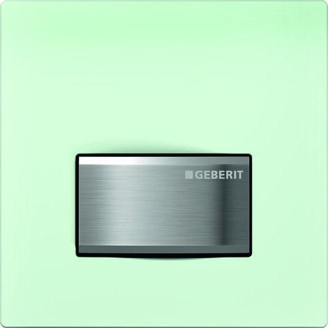 Geberit Urinalsteuerung mit pneumatischer Spülauslösung, Betätigungsplatte Typ 50, Coloris: satin / vert - 116.016.SE.5