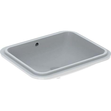 Geberit VariForm Cuvette à encastrer, rectangulaire, 500x400mm, sans trou pour robinet, avec trop-plein, Coloris: Blanc, avec KeraTect - 500.765.00.2