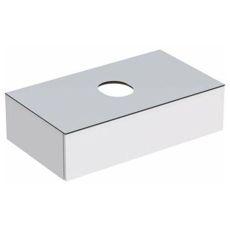 Geberit VariForm meuble sous-lavabo pour lavabo à poser, un tiroir, surface de rangement, siphon, largeur 90 cm, blanc, Couleur (avant/corps): Surface : laqué blanc, très complémentaire, plaque de recouvrement : blanc mat - 501.165.00.1