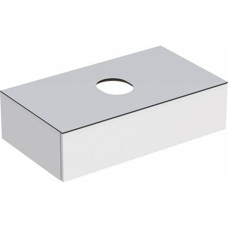 Geberit VariForm tocador para lavabo sobrepuesto, un cajón, superficie de almacenamiento, sifón de olor, anchura 90 cm, blanco, Color (frente/cuerpo): Superficie: lacado blanco, altamente complementario, placa de cubierta: blanco mate - 501.165.00.1
