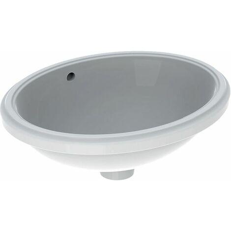 Geberit VariForm Vasque à poser ovale, 420x330mm, sans trou pour robinet, avec trop-plein, Coloris: Blanc, avec KeraTect - 500.749.00.2