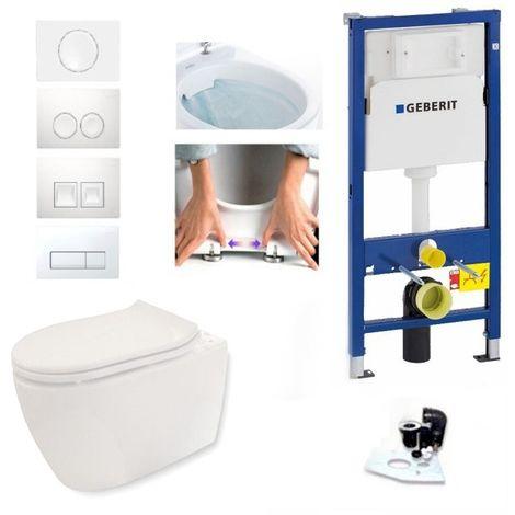Geberit Vorwandelement + Geberit iCon WC spülrandlos + Drückerplatte + WC Sitz + Beschichtung