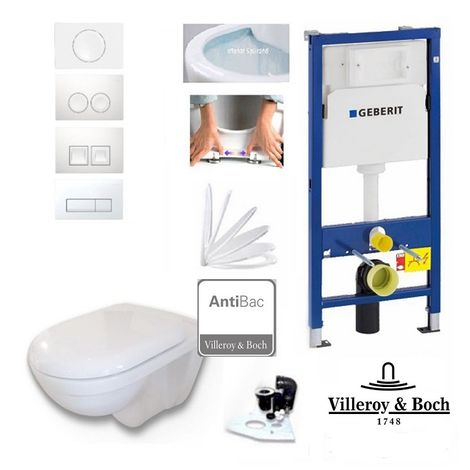 Geberit Vorwandelement + Villeroy & Boch O.Novo WC mit Antibac + Drückerplatte + WC Sitz