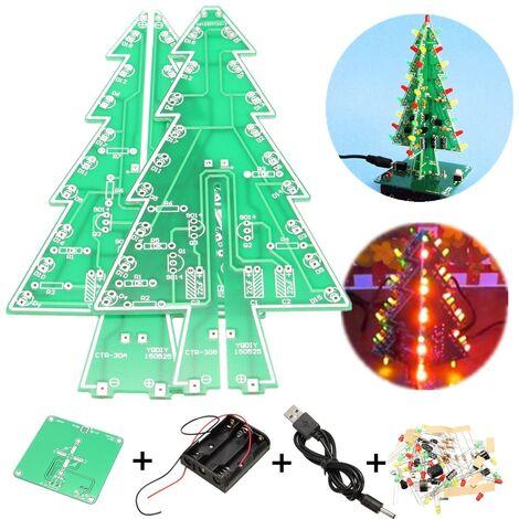 Geekcreit Christmas Tree LED Flash Light Kit 3D DIY Kit d'apprentissage électronique Rouge Vert No?l