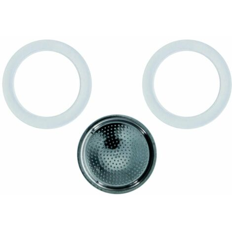 GEFU 2 Dichtungsringe und Filter, Ersatzteil für Espressokocher Emilio 16150, Dichtung Ring, Kaffee Dichtungsring, 16250