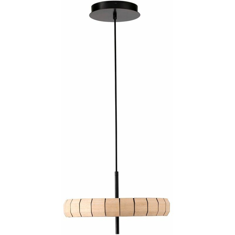 LED Pendelleuchte Phill aus Holz in Natur 400 mm