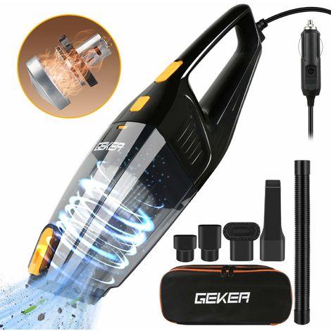 GEKER Aspirador Mano de coche Sin Cable, Aspiradora Automotriz 6 KPA, 120 W Uso dual seco y húmedo, Carga Rápida, filtro HEPA fácil de limpiar, el cable de alimentación de 4,5 m y la bolsa Oxford