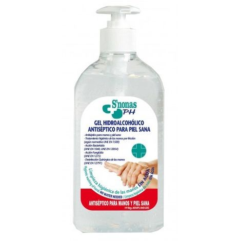 Gel hidroalcohólico antiséptico para piel sana S'nonas. Botella 500 ml con dosificador.