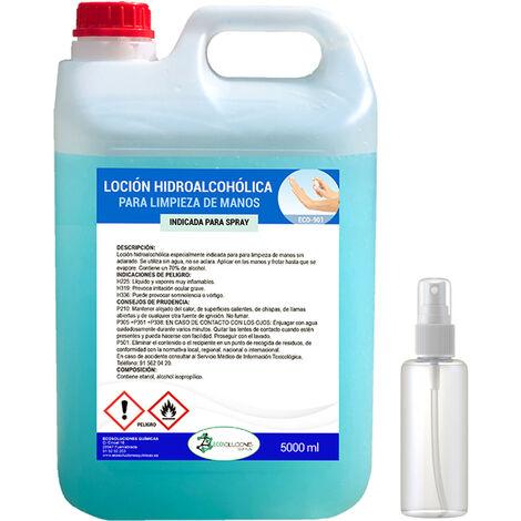 Gel Hidroalcohólico para manos 5 L .Incluye Pulverizador