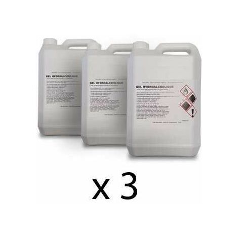 GEL HYDRO-ALCOOLIQUE - Lot de 3 bidons de 5l