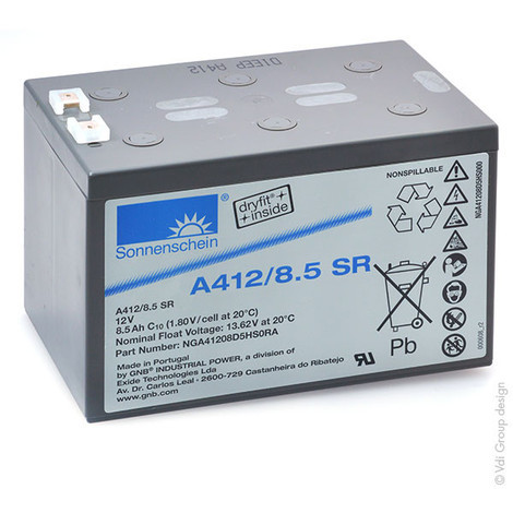 Gel lead acid battery Sonnenschein A412/8.5 SR 12V 9Ah F6.35