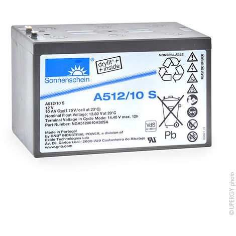 Gel lead acid battery Sonnenschein A512/10S 12V 10Ah F4.8
