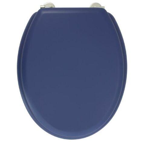 GELCO DESIGN Abattant WC Dolce - Charnieres inox - Bois moulé - Bleu marine