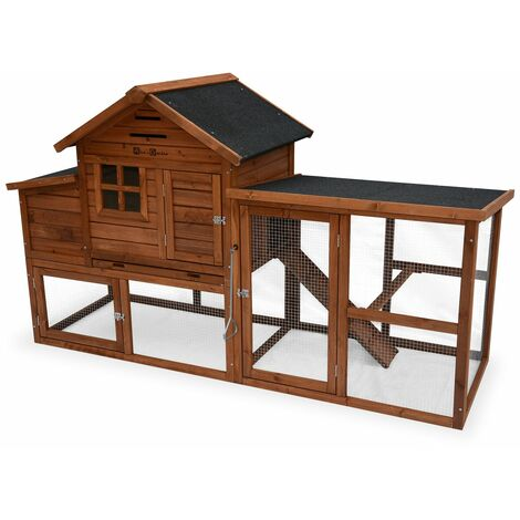 GELINE wooden chicken coop, hen house measuring 193x75x115cm