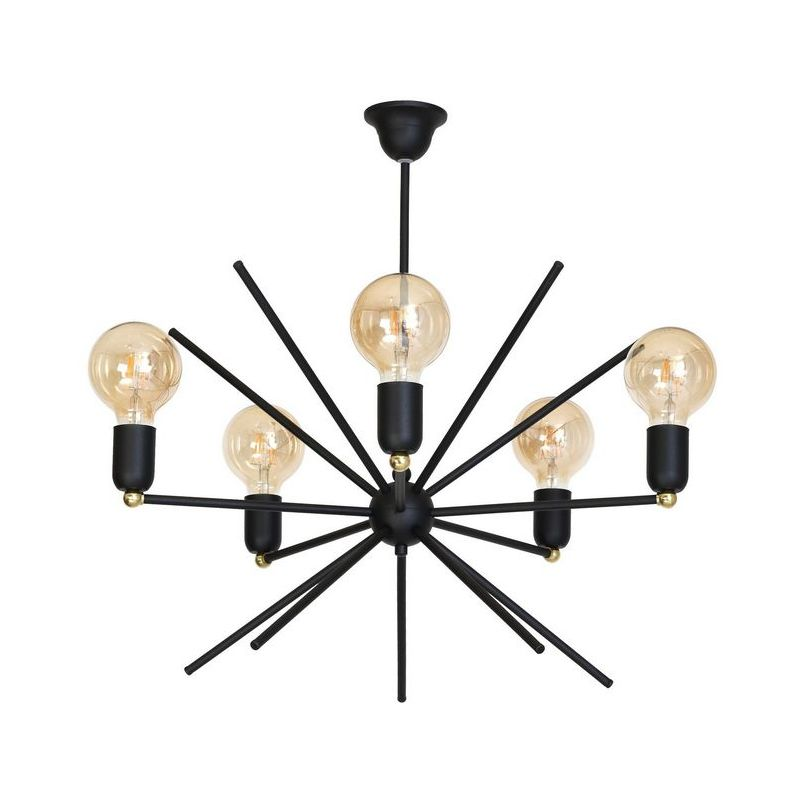 Homemania - Gemini Haengelampe - Deckenleuchte - von Wall - mit 5 Lichtpunkten - Schwarz aus Metall, 58 x 58 x 60 cm, 5 x E27, 60W