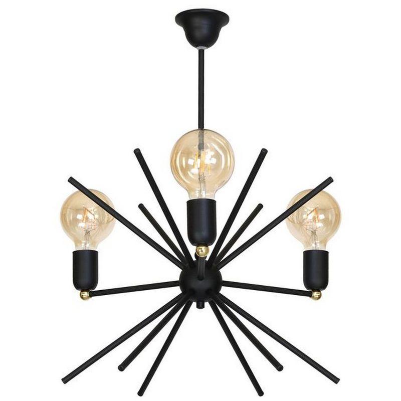 Homemania - Gemini Haengelampe - Kronleuchter - Deckenkronleuchter - Schwarz aus Metall, 44 x 44 x 60 cm, 3 x E27, 60W
