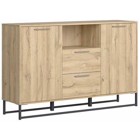 GEMMA - Buffet style industriel salon/salle à manger - 150.5x95x39 - 2 portes+2 tiroirs - Meuble de salon enfilade - Chêne