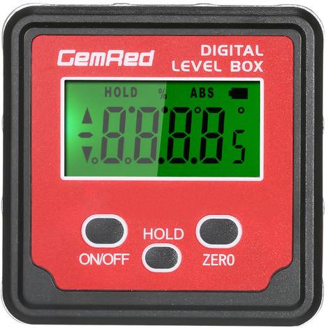GemRed, Level Box, Angle Gauge, Inclinometro digital con buscador de angulo(no se puede enviar a Baleares)