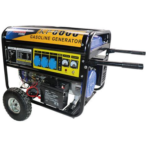 Generador Con Motor a Gasolina 270CC 9HP, Ruedas y Arranque Elétrico - Kawapower