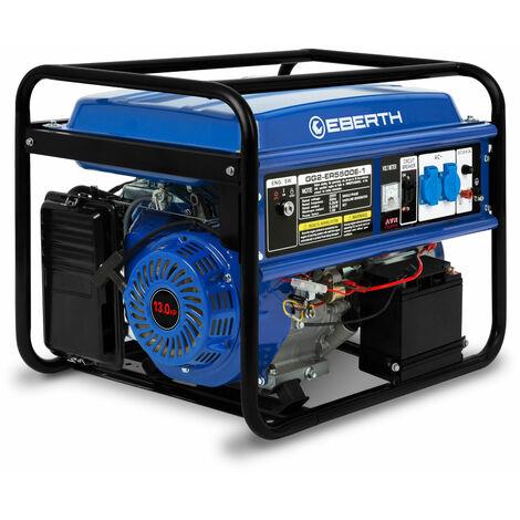 Generador de corriente (5500 vatios, Monofásico, 2x 230V, 1x 12V, E-Start, Motor de 13 hp, Regulador automático de voltaje AVR, Voltímetro) Grupo electrógeno