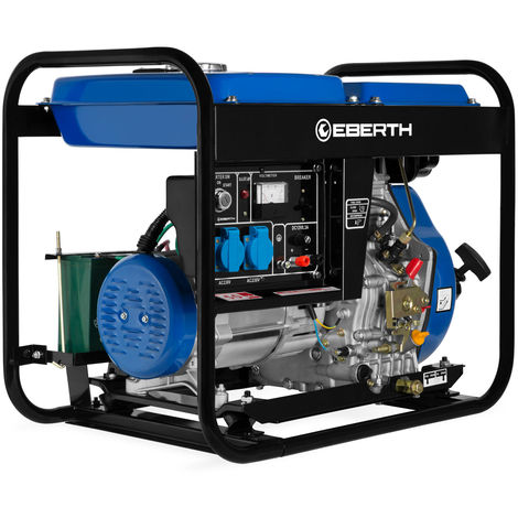 Generador de corriente diesel (5000 vatios, Monofásico, 2x 230V, 1x 12V, E-Start, Motor diesel de 10 hp, Regulador automático de voltaje AVR, Voltímetro) Grupo electrógeno