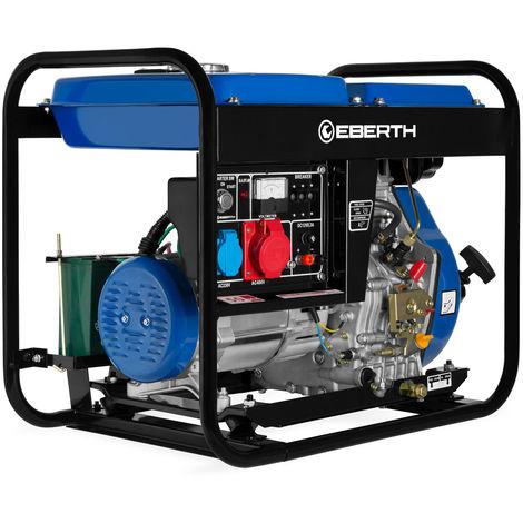 Generador de corriente diesel (5000 vatios, Trifásico, 1x 400V, 1x 230V, 1x 12V, E-Start, Motor diesel de 10 hp, Regulador automático de voltaje AVR, Voltímetro) Grupo electrógeno
