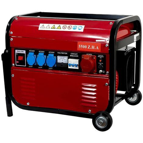 Generador Eléctrico Gasolina CON RUEDAS 15L 5500W Trifásico y Monofásico