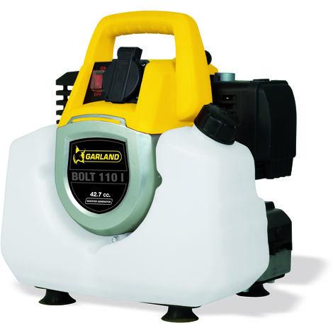 Generador Inverter Garland - Ligero y silencioso - Motor de 2T de 42,7 c.c. - Corriente alterna 230v/50hz - Potencia max (VA): 1.000 - Potencia nominal (VA): 800 - Depósito 3 L. - Autonomía 6,5 h. - Peso 8,5 Kg.